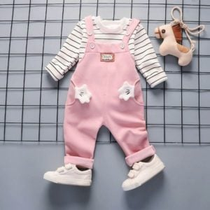 Soft Cozy Baby Pink Warm Fleece Overalls kids woolen Dungarees
