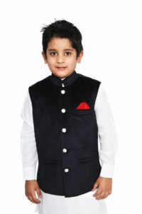 Black Sleeveless Nehru Style Jacket Indian Wedding Kids waistcoat