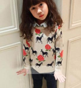 Children Woolen Sweater Red Flowers and Horses Patterns , Toddler Girl Sweater