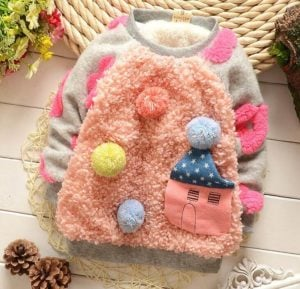 Little Girl Fur Party wear Winter Pullover - Baby Sweater Online India