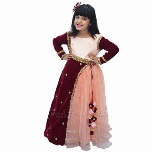 Indian Wedding Girls Velvet Gown - Baby Girl Ethnic Wear