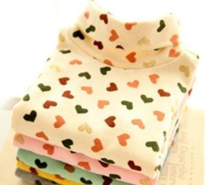 Girl High Neck Winter Sweater, Colorful Hearts Patterns Baby Sweater