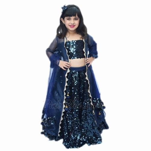 Baby Girl Indian Wedding Lehenga - Toddlers Blue Lehenga