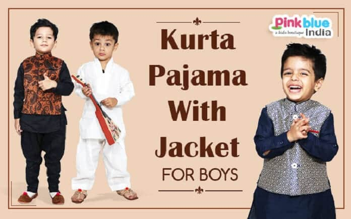 Boys Kurta Pajama With Jacket - Party Wear Kids Kurta Pajama