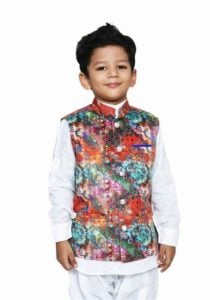 Kids Digital Print Readymade Nehru Jacket, Modi