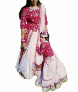 Mother Daughter Matching Indian Designer Lehenga Dress Mom baby Lehenga