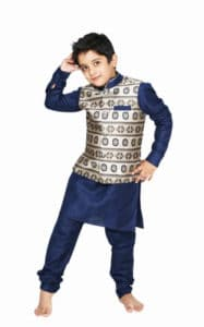 Little Boys Navy Blue Kurta Pyjama With Waistcoat, kids Jacket online