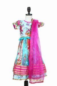 Raw Silk Floral Bollywood Lehenga Choli for Little Girls