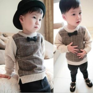 Little Prince Round Neck Sweater Bow Tie Pullover, Baby Boy Sweater