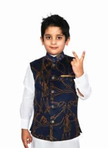 Royal Blue Velvet Slim Fit Nehru Jacket Waistcoat