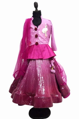Lehenga for Girl Child - Ombre Sequin Kids Lehenga Online