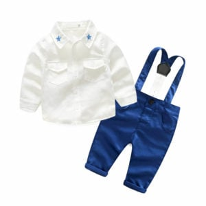 Baby Boy Birthday Gift Clothing Set Shirt, Y- Back Suspender and Pants