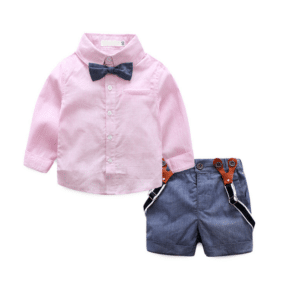 Infant Boy Wedding Outfit - Gray Suspender Shorts, Newborn Bow Tie Shirt dress
