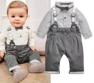 Newborn Baby Boy First Birthday Gift Set, Bow Tie & Suspenders Outfit