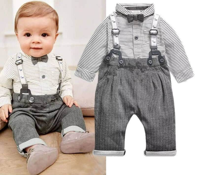 Newborn Baby Boy First Birthday Gift Set Bow Tie Suspenders Outfit