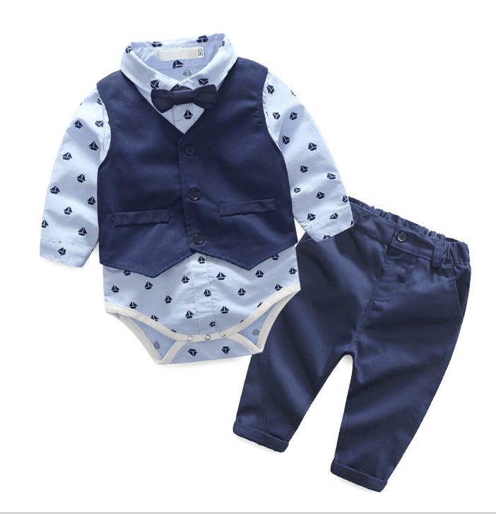 Newborn Onesie With Vest Bow Tie Pants Birthday Boy Clothing Set Online
