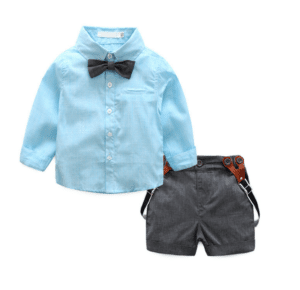 Ring Bearer Outfit Bow Tie Shirt and Suspender Short Baby Boy