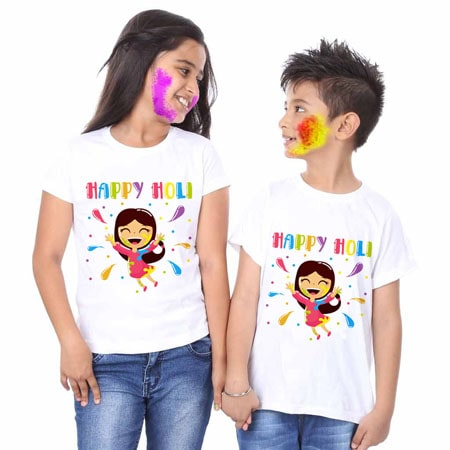 Kids Bro & Sis Holi T-shirts, Brother Sister Holi Tees Online