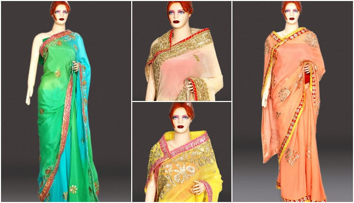 Designer Indian Wedding Sarees, Rajasthani Gota Work sarees