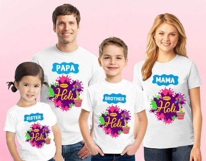 Cute Matching Holi T-shirts - Family Holi Tshirts