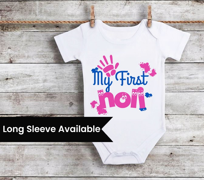 Personalized My First Happy Holi Onesies, Newborn Baby Rompers