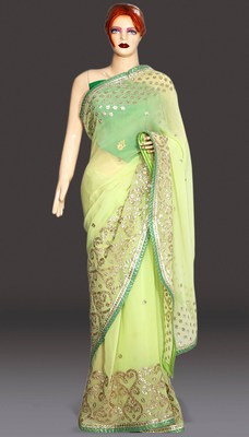 Heavy Pallu Gota Work Evening Wedding Saree Designs