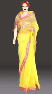Lemon Yellow Designer Georgette Saree Wedding, Haldi Function