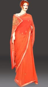 Peach color Pure Georgette Party wear Saree with Gota work