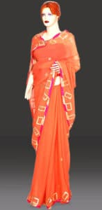 Peach Georgette Farewell Party Saree with Designer Blouse