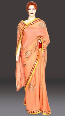 Peach Color Jaipuri Gota Work Saree , Indian wedding saree