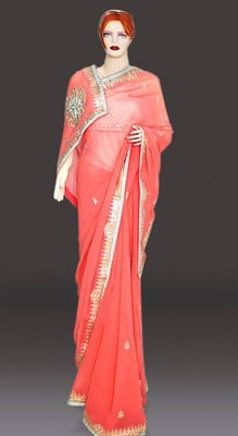 Pink Georgette Wedding Saree, Golden Border and Gota work jaipuri Saree
