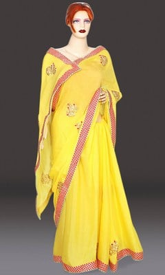 Yellow Rajasthani Gota Patti Work Saree