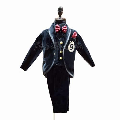 Boys Party Wear Velvet Tuxedo Suit