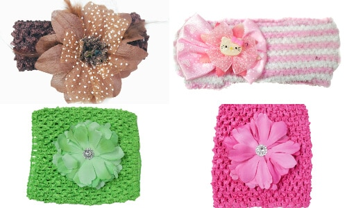 Infant Baby Crochet Headbands with Flowers
