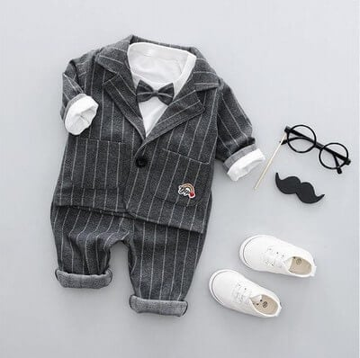 Black Boys Pinstripe Bow Tie Suit, Toddler Wedding Dress Suit, Formal Wear
