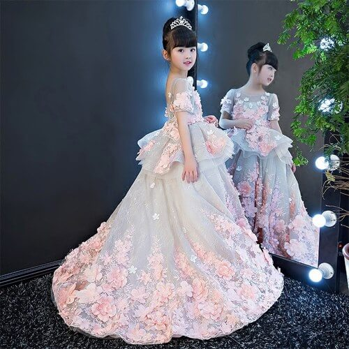 Designer Little Girl Ball Gown, Wedding Party Flower Girl Dresses