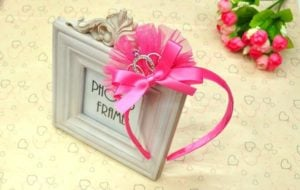 Pink Birthday Princess Crown Headband , Baby 1st Birthday Crown Tiara