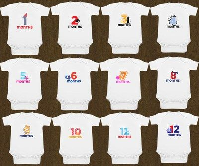 Personalized Baby Rompers up to 12 months, Monthly Milestone Onesie