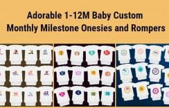 Cute 1-12M Baby Custom Monthly Milestone Onesies and Rompers in India