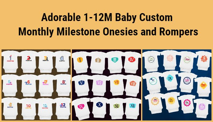 Buy custom 1-12 month milestone onesies, personalized Milestone baby rompers, month by month Milestone Bodysuits India