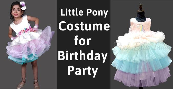 Little Pony Costume for Girl, Birthday Party Rainbow Unicorn Dress