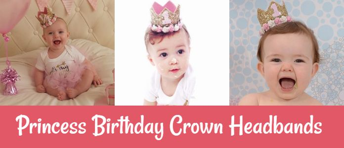 Personalized Princess Birthday Party Crown Headbands, toddler baby girl 1st birthday crown Hats India