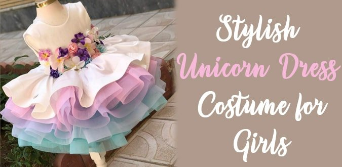 Girls Unicorn Dress Costume, Rainbow Dress