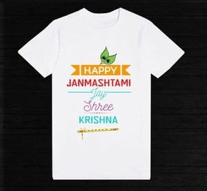 kids Personalized Happy Janmashtami T-shirt - Custom made Little Krishna T-shirt