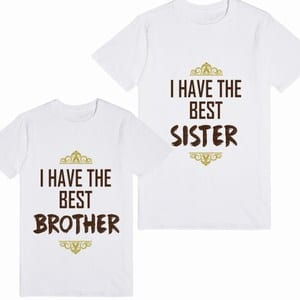 I have the Best Brother and Best Sister T-shirt on Rakhi