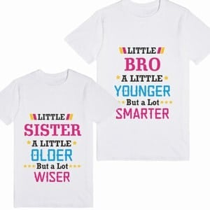 Personalized Sibling Matching T-Shirt Sets - Custom Little Brother Sister T-Shirts