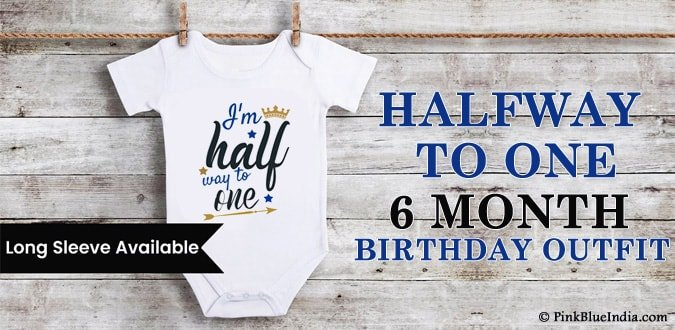 Personalized Halfway to One Onesie , 6 Month Baby Birthday Outfit