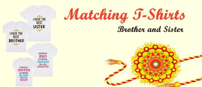 Brother and Sister t shirts, Raksha Bandhan Kids Matching Tees Online