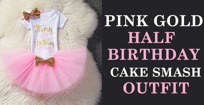 Baby Girl Half Birthday Cake Smash Outfit - Pink Gold Dress India