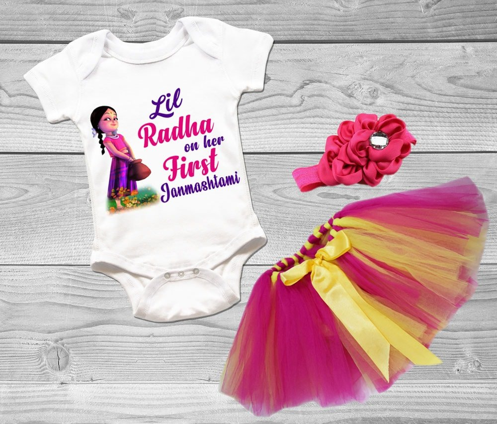 Little Girl Radha Dress, Baby Radha Outfit, Janmashtami Newborn Baby Onesie